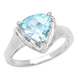 Sterling Silver Trillion cut Blue Topaz Ring