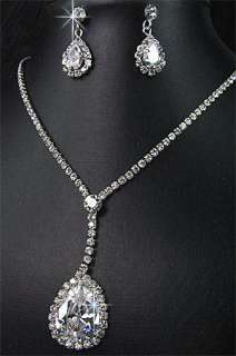 Bridesmaids Diamante Crystal Necklace Earrings Set Prom 27