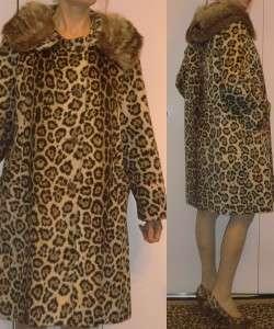 VTG LEOPARD CHEETAH FAUX FUR KNEE LENGTH COAT w/raccoon? fur collar