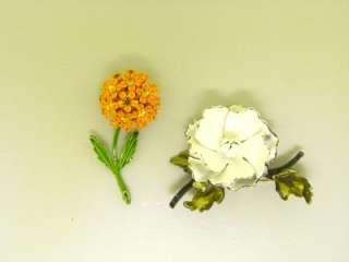 ENAMEL RETRO flower power PINK BROOCHES CORO EARRINGS   VINTAGE