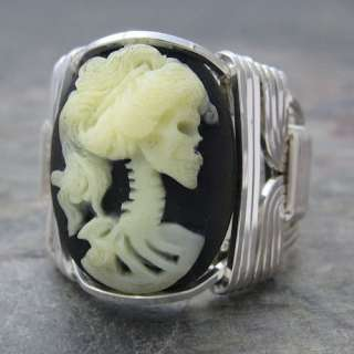 Bride Acrylic Cameo Sterling Silver Wire Wrapped Ring ANY size