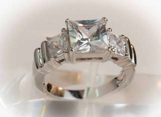 White Gold Plate   3CTW Princess Cut Past Present & Future Ring
