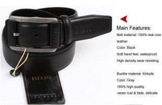 Boy/Mens 100% Genuine Cowhide Leather Dress Belt Black