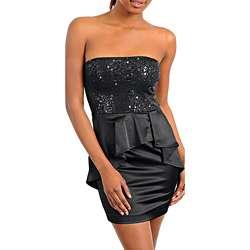 Stanzino Womens Black Sequined Strapless Peplum Dress