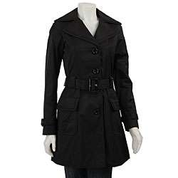 Steve Madden Womens Black Trench Coat  Overstock