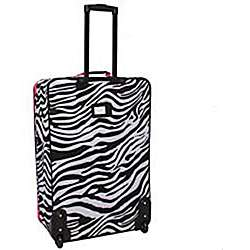 Rockland Designer Pink Zebra 4 piece Luggage Set