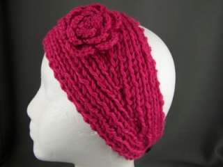Fuchsia flower ear warmer muff knit head wrap hat headband crochet 5.5