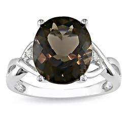 Sterling Silver Smokey Quartz and Diamond Fashion Ring