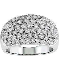 14k White Gold 1 1/2ct TDW Diamond Dome Ring