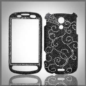 Silver Swirl on Black Cristalina crystal bling case