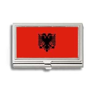 Albania Albanian Flag Business Card Holder Metal Case