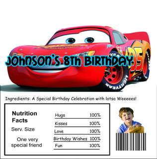 40 Disney Cars candy wrappers birthday party invitations and favors