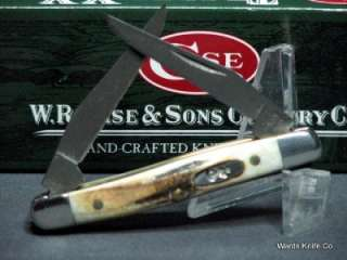 Case XX 2008 DAMASCUS Tiny Muskrat Knife India Stag #06059