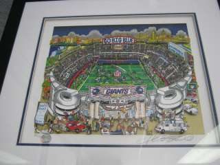 Charles Fazzino Go Big Blue NY Giants Football Signed and Numbered