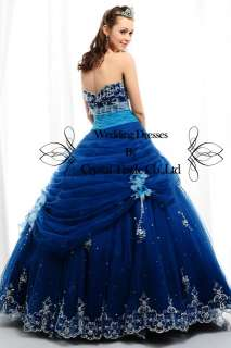 Blue Glamorous Ball Wedding Bridal Gown Quinceanera Evening Prom