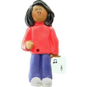 4073 Female African American Musician Christmas Ornament