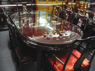 Solid Rosewood Dining Table Set w/ Abalone Shell Inlaid, Dragon