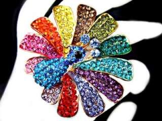 PEACOCK Phoenix RING Swarovski MULTI COLOR Crystal Sz 9