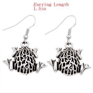 Exquisite Tibetan Silver Hollow Frog Dangle Earrings