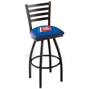 US Coast Guard Logo Black Wrinkle Swivel Bar Stool with Ladder Style