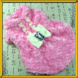 Dog&Pet Clothes,Faux Fur Throw Coats,High Quality Lining Pink Dress