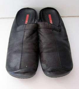 PRADA red line black comfort leather mule slides clogs shoes 36.5 6.5
