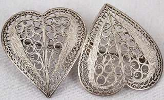 FILIGREE HEARTS Necklace~Pin Brooch~Bracelet JEWELRY SET~Mexico