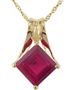 10k Gold and Square Created Ruby Necklace