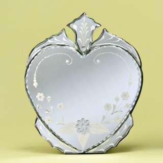 Venetian Gems Heart Venetian Table Mirror Decor