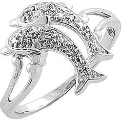 White Gold Diamond Accent Dolphin Ring (I J, I1 I2)