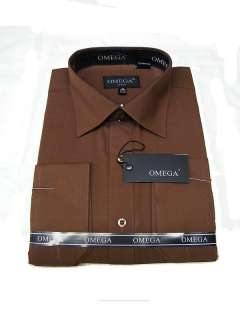 NEW WITH TAGS, OMEGA MENS BROWN LONG SLEEVE DRESS SHIRT   VARIOUS
