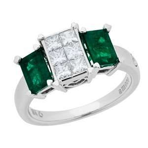 1.78 Carat 18kt White Gold Emerald and Diamond Ring