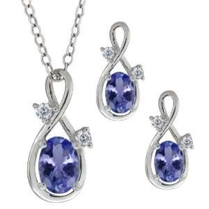 1.73 Ct Oval Blue Tanzanite Gemstone Sterling Silver