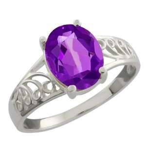 1.66 Ct Oval Purple Amethyst 10k White Gold Ring Jewelry