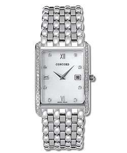 Concord Veneto Mens 18k White Gold Diamond Watch  Overstock