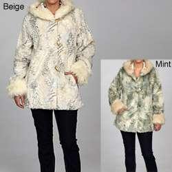 Nuage Womens Faux Fur Hooded Coat