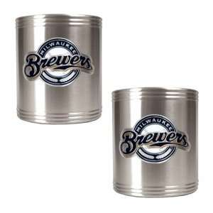 Milwaukee Brewers 2pc Stainless Steel Can Holder Set