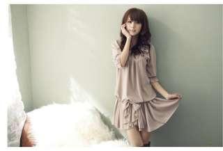 Fashion Womens Short Sleeve Casual Chiffon Ruffle Bowknot Mini Dress
