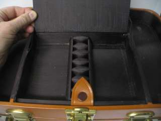 Travel Train Case Suitcase Brown Leather Bag Vanity Case & Luggage Key
