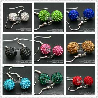 15 Colors 10 mm Style Swarovski Crystal Disco Ball Earrings Beads