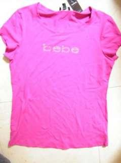 BEBE logo crystals t shirt PINK large top 162635