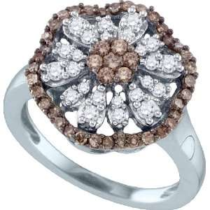 Delicate Flower Ring Beautifully Crafted in 10K White Gold, Adorned