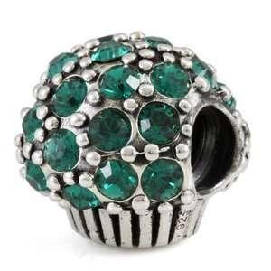 Silver May Crystal Muffin European Bead Arts, Crafts & Sewing