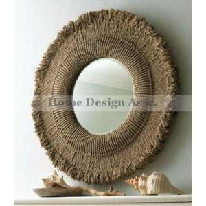 Extra Large HEMP ROPE Round Wall Mirror Sunburst Lodge Ranch Natural