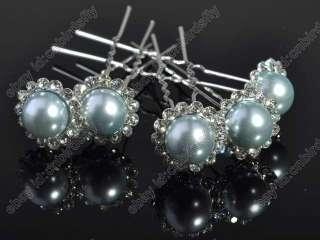 lots 200X Rhinestone Big Pearl Beads Braid Hair pin accessory
