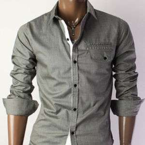 unghea Mens Casual Slim Line Dress shirts GRAY (HC908)