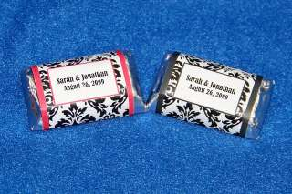 120 Personalized Damask Wedding Miniature Candy Wrapper