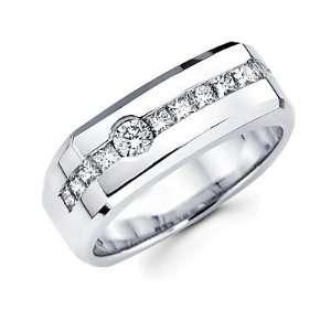 Size  11   14k White Gold Mens Diamond Wedding Ring Band 1.09 ct (G H
