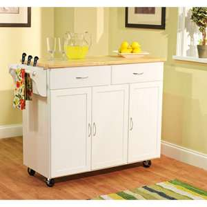 Extra Large Kitchen Cart, White with Wood Top (Box A)