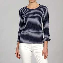 Jones New York Womens Scoop Neck Striped Shirt
